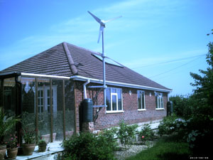Wind turbine, solar panel and rainwater harvesting